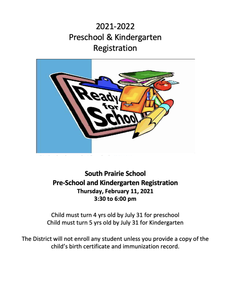 2021-2022 Kindergarten and Preschool Registration Information!